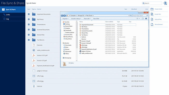 Desktop clients for Windows and Mac integrate your Files Cloud directly with your desktop.
